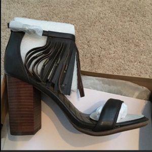 f88470e326c Mia Shoes - Mia Cristie Nappa Brown Block Heel Fringe Sandal
